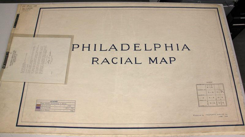 The Philadelphia Racial Map, prepared by Realtors in 1943 and given to the city, enabled housing and lending discrimination on the basis of race. Few such documents survive. (Emma Lee/WHYY)