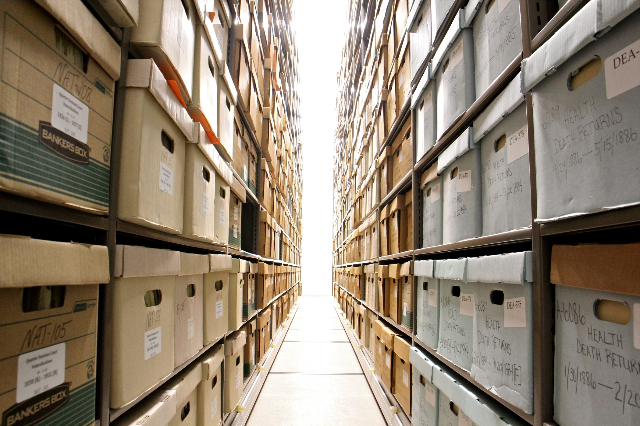At Philadelphia's new City Archives, 76 rows of high-density shelving contain hundreds of years of records.