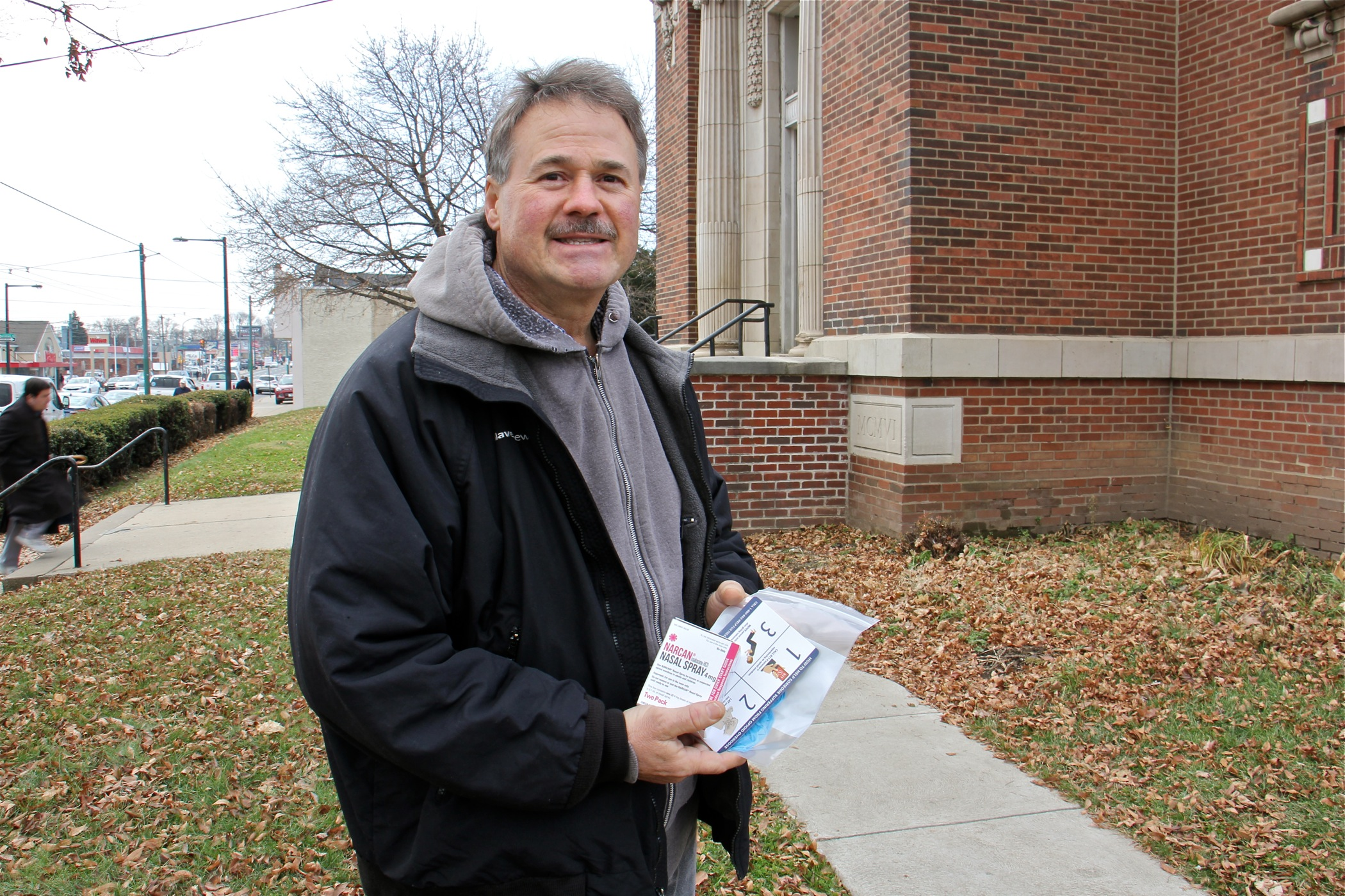 Steve Bryant stops at the Holmsburg Library to pick up some free naloxone. Eighty sites across Pennsylvania distributed the drug that reverses the effects of an opioid overdose.