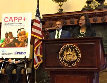 Dr. Tyra Bryant-Stephens, who directs CHOP's Community Asthma Prevention Program, speaks at an event to launch a new partnership with PHDC. (Dana Bate for WHYY)