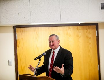 Philadelphia Mayor Jim Kenney speaks to Kensington residents about his opioid emergency response executive order at the McPherson Square Library Tuesday evening. (Brad Larrison for WHYY)