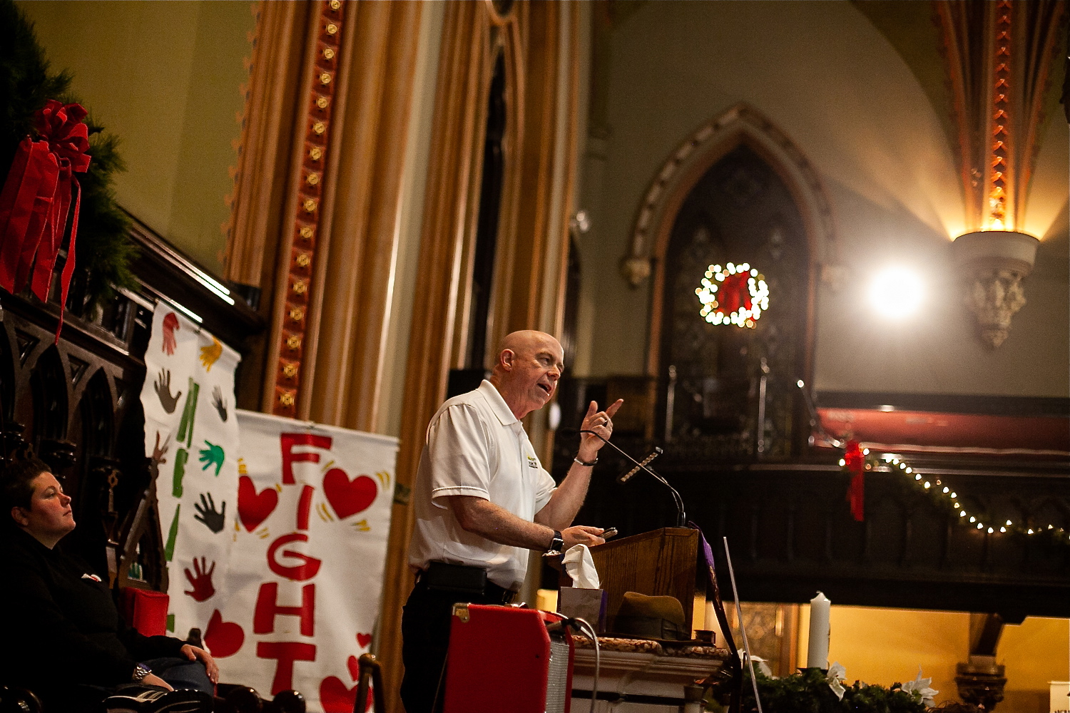 Bob McCann of the organization Sunday Breakfast Rescue Mission speaks at Homeless Memorial Day service Thursday evening at Arch Street United Methodist Church.