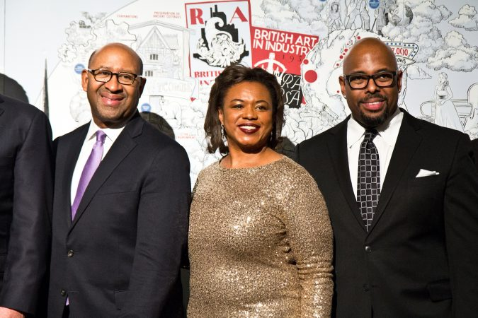 Lolita Jackson, RSA U.S. chairman, (center), former Mayor of Philadelphia Michael Nutter (left), and bassist Christian McBride at the Benjamin Franklin Medal award ceremony. (Kimberly Paynter/WHYY)