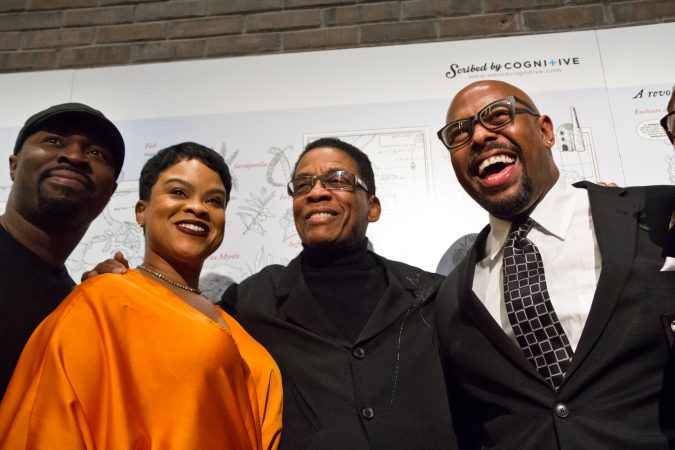 Herbie Hancock (center) with vocalist Laurin Talese (left) and bassist Christian McBride (right) at the Benjamin Franklin Medal award ceremony. (Kimberly Paynter/WHYY)