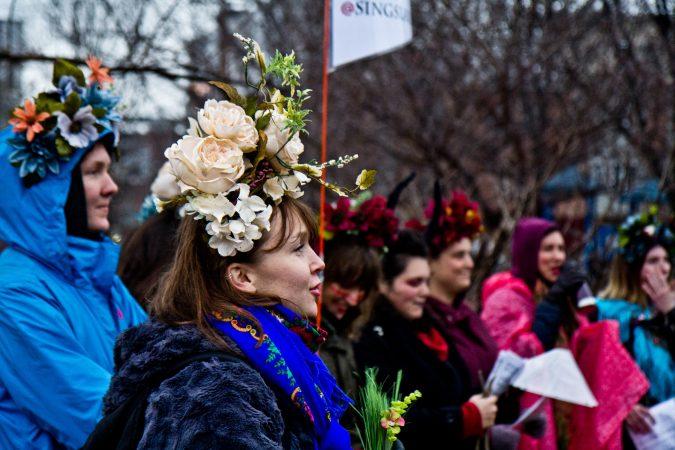 The Philadelphia Women's Slavic Ensemble performs at the eight annual Parade of Spirits. (Kimberly Paynter/WHYY)