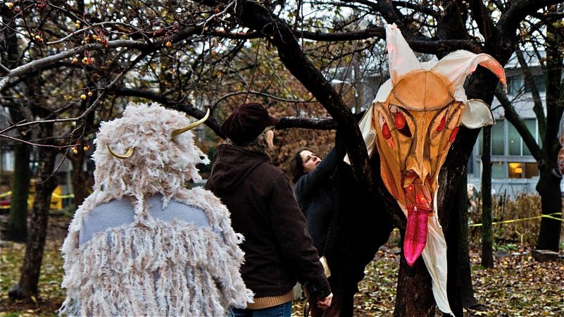 Organizers decorate Liberty Lands park in Northern Liberties for the Parade of Spirits. (Kimberly Paynter/WHYY)