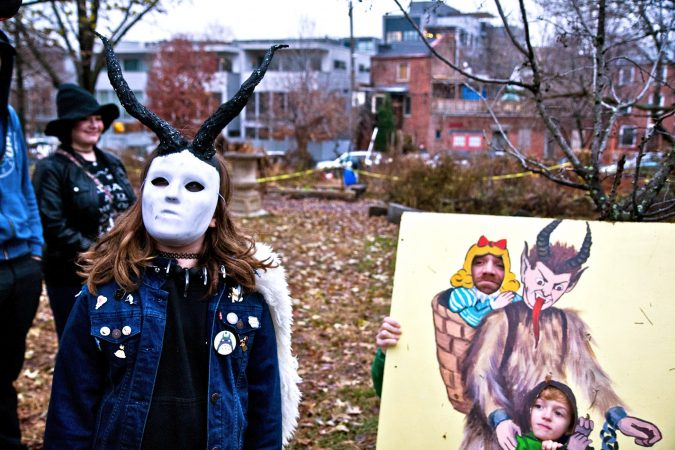 A popular costume at the Parade of Spirits is that of the Krampus, a creature from central European folklore, half goat and half demon, who punishes naughty children. (Kimberly Paynter/WHYY)