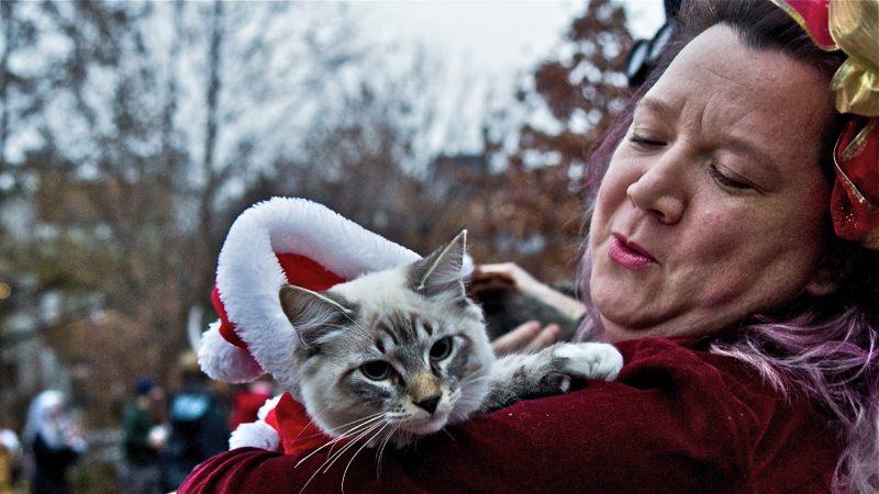 Revelers gather at Liberty Lands Park dressed as dark spirits. (Kimberly Paynter/WHYY)