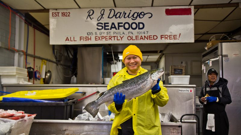 Long Leng is the owner of R.J. Darigo Seafood in the Italian Market. (Kimberly Paynter/WHYY)