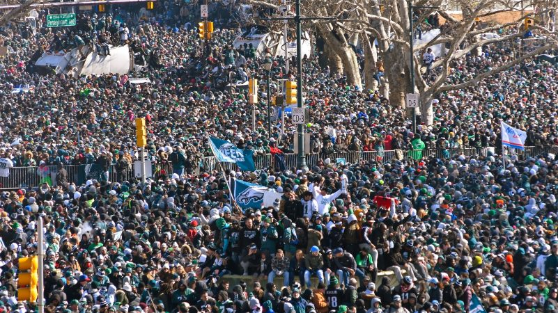Hundreds of thousands fill the Ben Franklin Parkway in Philadelphia on Feb. 8, 2018, to celebrate the Philadelphia Eagles winning Super Bowl LII. The Eagles beat the New England Patriots by 41-33. (Bastiaan Slabbers for WHYY)