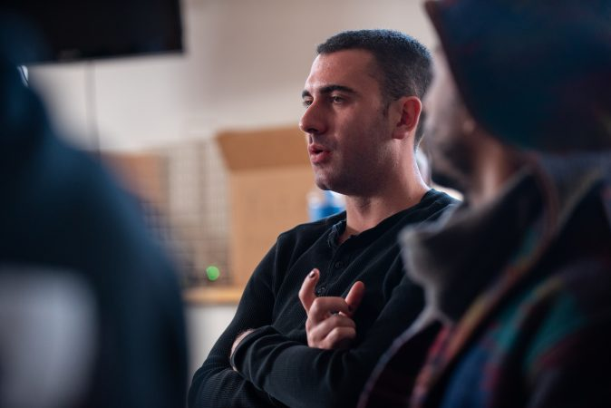 Richie Schulz participates in group discussion during a masculinity workshop at Lutheran Settlement House on Sunday, October 28, 2018. (Kriston Jae Bethel for WHYY)