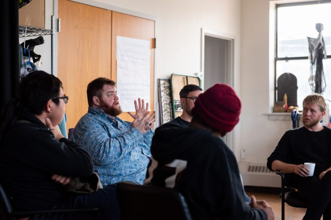Curtis Walker shares his thoughts on how masculine power can be used to create a postitive impact during a masculinity workshop at Lutheran Settlement House on Sunday, October 28, 2018. (Kriston Jae Bethel for WHYY)