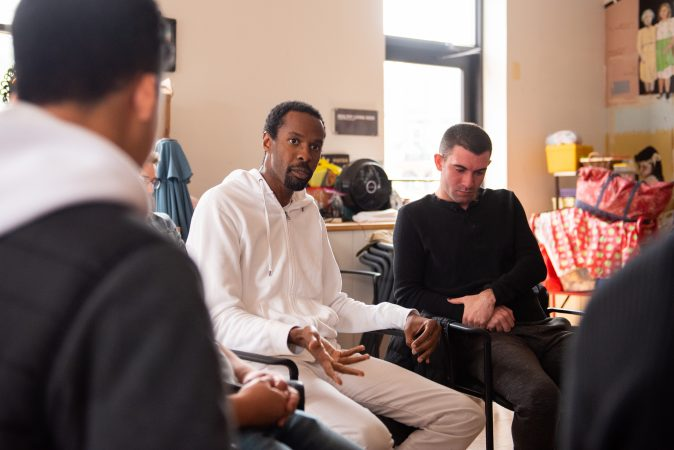 Matthew Armstead leads discussion during a masculinity workshop at Lutheran Settlement House on Sunday, October 28, 2018. (Kriston Jae Bethel for WHYY)