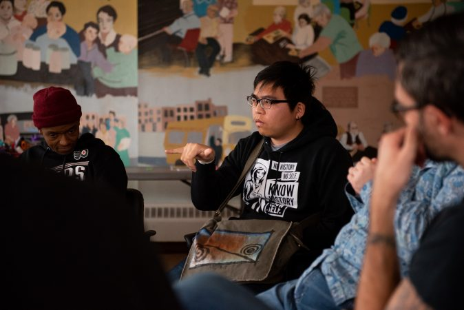 Duong Ly participates in conversation during a masculinity workshop at Lutheran Settlement House on Sunday, October 28, 2018. (Kriston Jae Bethel for WHYY)