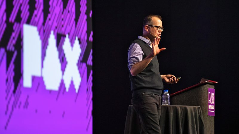 Jeremy Crawford, lead rules designer for Dungeons & Dragons, delivers they keynote address at PAX Unplugged. Crawford discussed the growth of the latest edition of D&D and how the decades-old game is a space for inclusion. (Kriston Jae Bethel for WHYY)