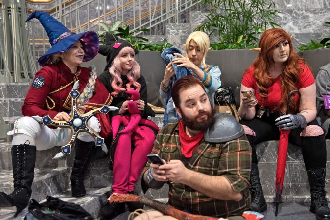 Fans of the web series Critical Role wait in costume before a group photo during a meetup at PAX Unplugged. (Kriston Jae Bethel for WHYY)