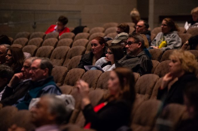 Residents from Warrington, Warminster and Horsham areas, listen to a presentation by the Pennsylvania Department of Health on the findings of an initial study on the presence of PFAS found in local drinking water. (Kriston Jae Bethel for WHYY)