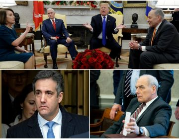 top left: Michael Cohen AP Photo/Craig Ruttle) top right: John Kelly (AP Photo/Michael Reynolds), Bottom: Nancy Pelosi, Mike Pence, Donald Trump, Chuck Schumer (AP Photo/Evan Vucci)