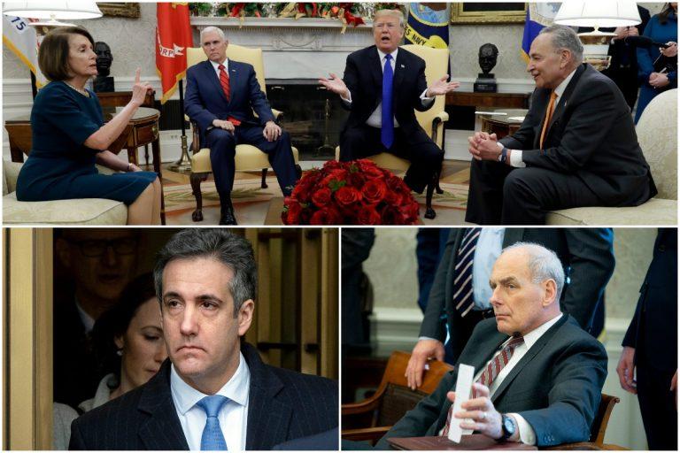 top left: Michael Cohen AP Photo/Craig Ruttle) top right: John Kelly (AP Photo/Michael Reynolds), Bottom: Nancy Pelosi, Mike Pence, Donald Trump, Chuck Schumer (AP Photo/Evan Vucci)