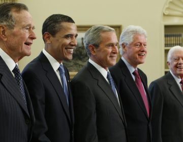 Former presidents, (from left), George H.W. Bush, Barack Obama, George W. Bush, Bill Clinton and Jimmy Carter, Wednesday, Jan. 7, 2009, in the Oval Office of the White House in Washington. (AP Photo/J. Scott Applewhite)