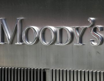 A sign for Moody's Corp. is shown Aug. 13, 2010 in New York. Moody's Investors Service is a credit rating agency. (AP Photo/Mark Lennihan)