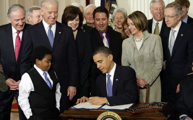 FILE - In this Tuesday, March 23, 2010 file photo, President Barack Obama signs the Patient Protection and Affordable Care Act in the East Room of the White House in Washington. (AP Photo/J. Scott Applewhite)