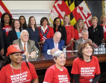 Maryland Gov. Larry Hogan signs legislation to enable judges to order people to temporarily give up their firearms if they are found to pose an immediate danger, one of more than 200 bills he signed on Tuesday, April 24, 2018, in Annapolis, Md. Hogan also signed a bill to ban bump stocks, which can increase a semi-automatic rifle's firing rate, as well as a bill to require convicted domestic abusers to surrender guns to law enforcement or a firearms dealer. ( Brian Witte / The Associated Press)
