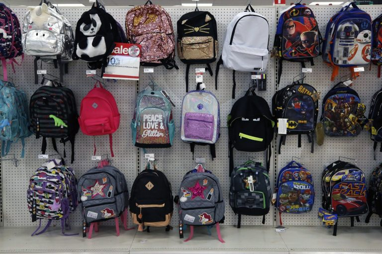 This July 18, 2018, photo shows a display of back to school backpacks in a Target store in Pittsburgh. (Gene J. Puskar / The Associated Press)