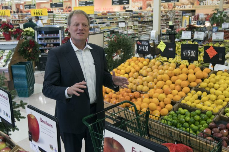 In this Dec. 6, 2016 file photo, Brian Wansink speaks during an interview in the produce section of a supermarket in Ithaca, N.Y. On Friday, Sept. 21, 2018, the prominent food researcher is defending his work a day after Cornell University said he engaged in academic misconduct and was removed from all teaching and research positions. (Mike Groll/AP Photo)
