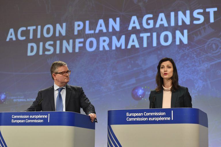 European Commissioner for Security Union Julian King, (left), and European Commissioner for Digital Economy Marija Gabriel participate in a media conference at EU headquarters in Brussels, Wednesday Dec. 5, 2018. The European Commission on Wednesday reported on an Action Plan to counter disinformation and the progress achieved so far. (Geert Vanden Wijngaert/AP Photo)