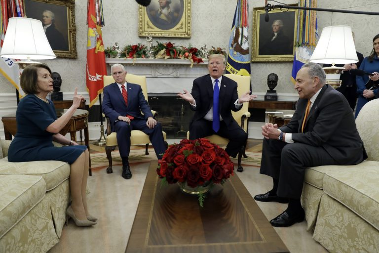 President Donald Trump and Vice President Mike Pence meet with Senate Minority Leader Chuck Schumer, D-N.Y., and House Minority Leader Nancy Pelosi, D-Calif., in the Oval Office of the White House, Tuesday, Dec. 11, 2018, in Washington. (AP Photo/Evan Vucci)
