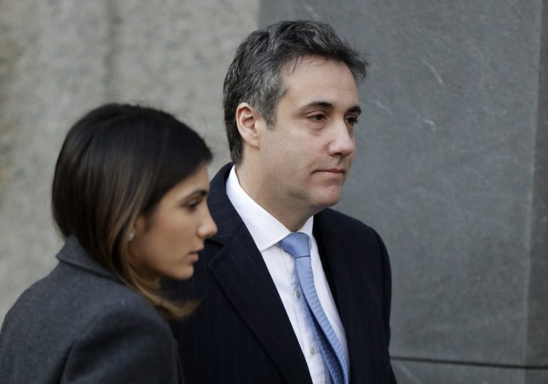 Michael Cohen, (right), President Donald Trump's former lawyer, arrives at federal court for his sentencing for dodging taxes, lying to Congress and violating campaign finance laws in New York on Wednesday, Dec. 12, 2018. (Julio Cortez/AP Photo)