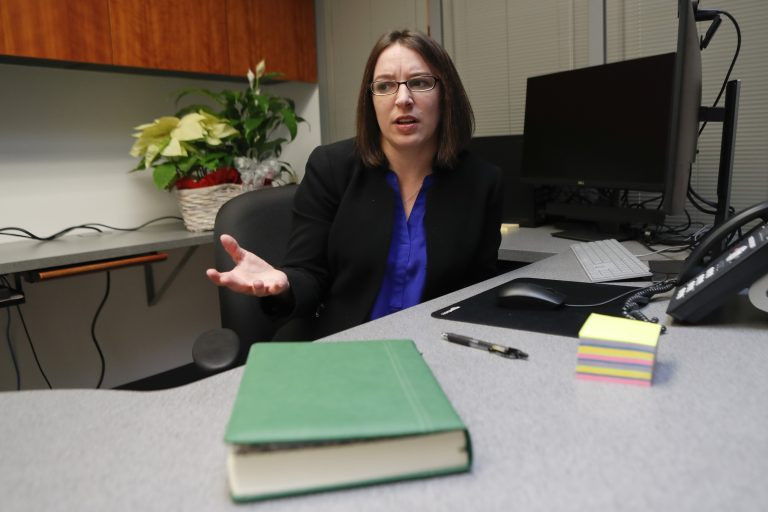 Pennsylvania state Sen.-elect Lindsey Williams will be sworn in to office Tuesday. (AP Photo/Keith Srakocic)