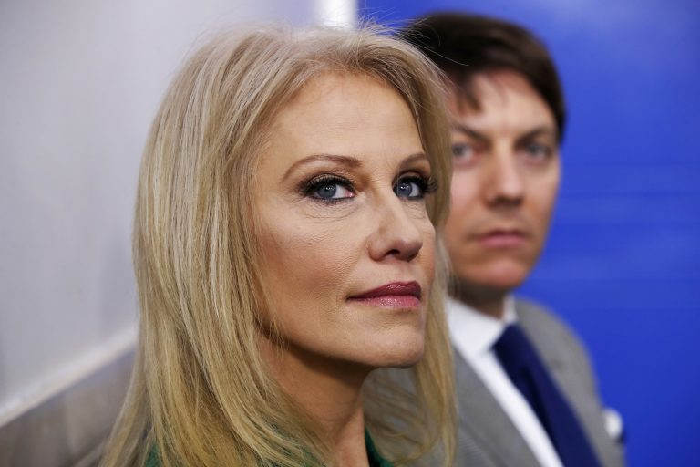 Kellyanne Conway, counselor to the President, left, and White House Deputy Press Secretary Hogan Gidley attend a news briefing at the White House in Washington, Tuesday, Dec. 18, 2018. (AP Photo/Jacquelyn Martin)