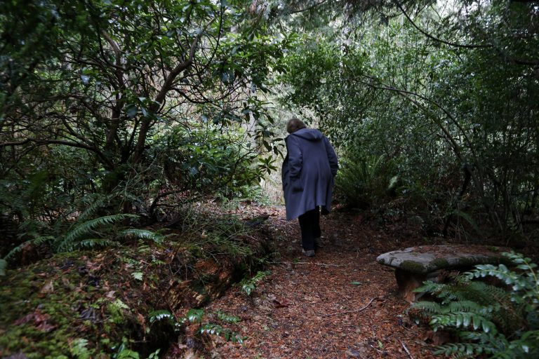 In this Monday, Dec. 10, 2018, photo, Psychologist Hilarie Cash walks on a forest path at a rehab center for adolescents in a rural area outside Redmond, Wash. The complex is part of reSTART Life, a residential program for adolescents and adults who have serious issues with excessive tech use, including video games. Disconnecting from tech and getting outside is part of the rehabilitation process. The organization, which began about a decade ago, also is adding outpatient services due to high demand. Cash is chief clinical officer and a co-founder at reSTART. (AP Photo/Martha Irvine)