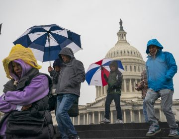 Tourists arrive to visit the U.S. Capitol on a rainy morning in Washington, Friday, Dec. 28, 2018, during a partial government shutdown. The partial government shutdown will almost certainly be handed off to a divided government to solve in the new year, as both parties traded blame Friday and President Donald Trump sought to raise the stakes in the weeklong impasse. (AP Photo/J. Scott Applewhite)