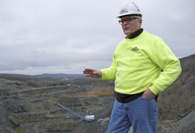 J. Greg Driscoll, president and CEO of Blaschak Coal Corporation, stands atop the company's new pit mine Dec. 4, 2018, in Mount Carmel, Pennsylvania. (Matt Smith for Keystone Crossroads)