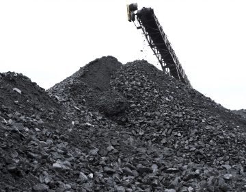 Coal is piled up at the the Blaschak Coal Corporation pit mine Dec. 4, 2018, in Mount Carmel, Pennsylvania. (Matt Smith for Keystone Crossroads)