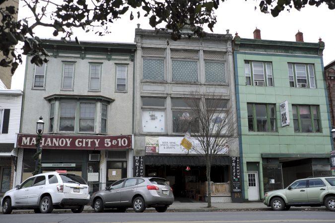 A row of storefronts on West Centre Street in Mahanoy City, Pennsylvania. (Matt Smith for Keystone Crossroads)