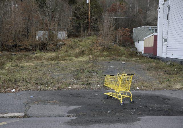 The empty, blighted lot across from Tom Maziekas' house in Mahanoy City. (Matt Smith for Keystone Crossroads)