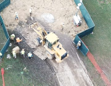 Crews work to stabilize sinkholes in a West Whiteland Township