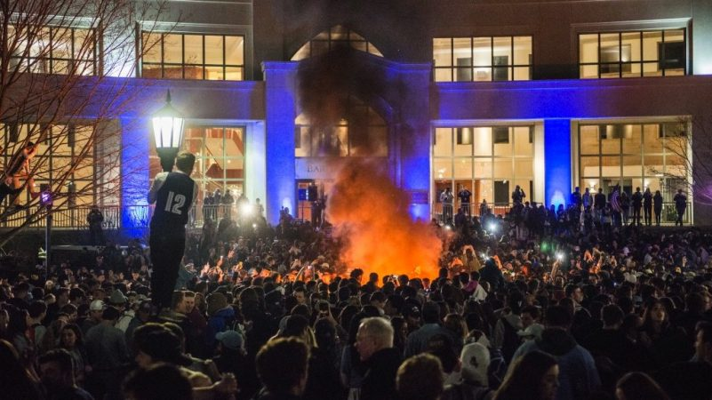 Villanova students celebrate the men's basketball team victory in the NCAA championship on April 2, 2018. (Branden Eastwood for WHYY)