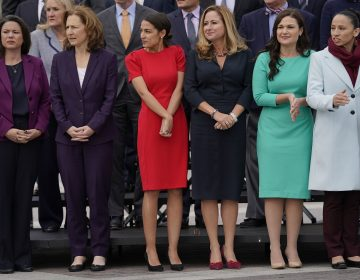 From l-r., Rep.-elect Angie Craig, D-Minn., Rep.-elect Kim Schrier, D-WA., Rep.-elect Alexandria Ocasio-Cortez, D-NY., Rep.-elect Debbie Mucarsel-Powell, D-Fla., Rep.-elect Abby Finkenauer, D-Iowa, and Rep.-elect Sharice Davids, D-KS., line up as they join other members of the freshman class of Congress for a group photo on Capitol Hill in Washington, Wednesday, Nov. 14, 2018. (AP Photo/Pablo Martinez Monsivais)