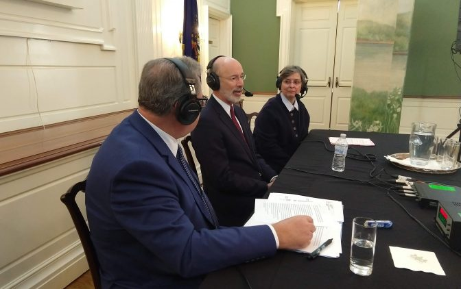 (From left) WITF Smart Talk host Scott LaMar speaks with Gov. Tom Wolf and first lady Frances Wolf during a live broadcast from the Governors Residence in Harrisburg on Dec. 7, 2018. (Lisa Wardle/WITF)