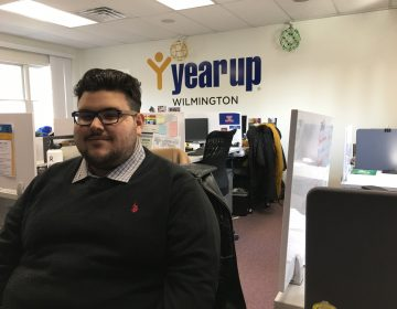 Zach Rivera is halfway through the Year Up job-training program at Wilmington University. (Mark Eichmann/WHYY)