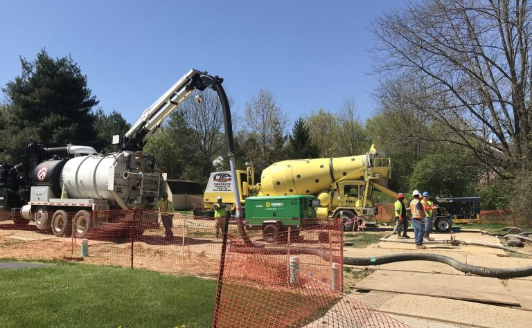 Construction on the Mariner East 2 pipeline has faced myriad problems, including damaged water supplies and sinkholes in a residential neighborhood in Chester County. (Marie Cusick/StateImpact Pennsylvania)