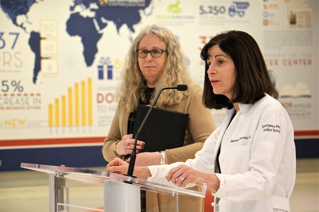 Emergency Dr. Jeanmarie Perrone (right) joins Pennsylvania Secretary of Health Dr. Rachel Levine to announce new prescription guidelines for emergency room doctors dealing with opioids and opioid addiction. (Emma Lee/WHYY)