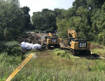 Energy Transfer, the parent company of Mariner East 2 pipeline builder, Sunoco, works at Snitz Creek in West Cornwall Township, Lebanon County after a drilling mud spill during the summer. (Marie Cusick/StateImpact Pennsylvania)