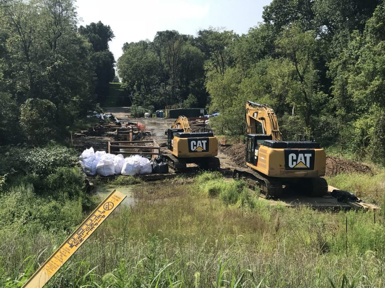Energy Transfer, the parent company of Mariner East 2 pipeline builder, Sunoco, works at Snitz Creek in West Cornwall Township, Lebanon County after a drilling mud spill during the summer. (Marie Cusick/ StateImpact Pennsylvania)