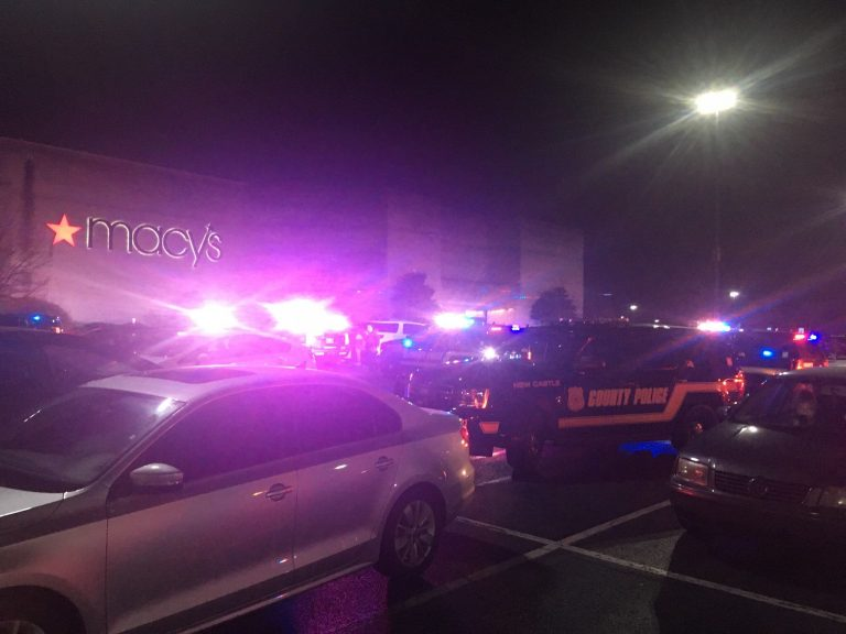 Police responding to reports of shots fired at Christiana Mall in Delaware on Friday evening, December 21 2018 (John Jankowski for WHYY)